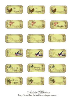 "Astrids Artistic Efforts: Tickets galore freebie - These are beautiful. So glad Astrid ""gifts"" her gorgeous work. Printable Tickets, Free Printable Tags, Printable Paper, Free Printables, Vintage Labels, Vintage Ephemera, Vintage Clip, Vintage Paper, Vintage Style"