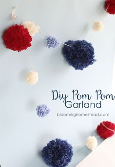 DIY Pom Pom Garland tutorial. Great for party decor on a budget!