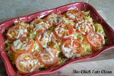 Tomato Basil Parmesan Spaghetti Squash Casserole - This Chick Eats Clean