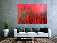 Modernes Acrylbild minimalistisch in rot abstrakt 110x170cm von xxl-art.de