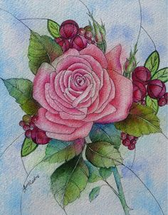 Laura Leeders Watercolor Journey: 2015 Spring Floral Painting ~ Vintage Rose In Mars. Watercolor Disney, Watercolor Design, Watercolor Flowers, Watercolour, Pen And Wash, Satin Stitch, Vintage Roses, Colored Pencils, Flower Art