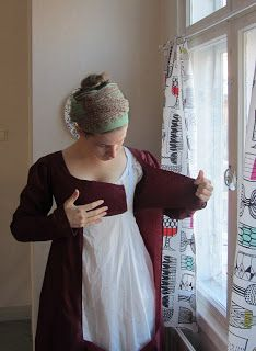 The Shadow of My Hand: Burgundy drop front dress - first pin the front flaps closed