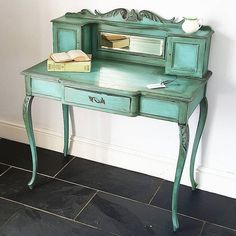 This beautiful piece was painted a few years back in my favourite turquoise; Green Furniture, Funky Furniture, Repurposed Furniture, Furniture Makeover, Vintage Furniture, Furniture Decor, Furniture Making, Annie Sloan Furniture, Chalk Paint Furniture