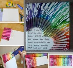 diy canvas wall art ideas and tutorials - Multicolored heart with melted crayons