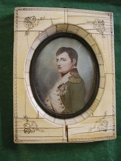 SIGNED Antique Miniature Oil Painting NAPOLEON BONAPARTE Portrait Cow Bone Frame #Miniature