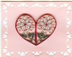 Quilling with Whimsiquills. Pretty combination of flowers and a heart ~!~