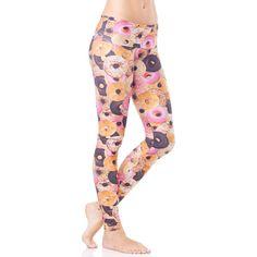 Emily Hsu Designs Donut Delight Legging (220 BRL) ❤ liked on Polyvore featuring pants, leggings, activewear, low pants, straight pants and leggings pants