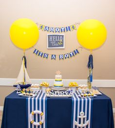 It makes my day when I get party photos back from my clients who have used my printables. Cute Karelin recently purchased my AHOY IT'S A BOY Nautical Baby Shower Theme printable package and…