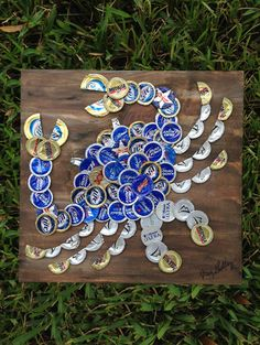 Blue Crab Beer Cap Art 12 x 12 Signed Original by KaysCapArt