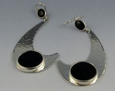 Sterling Silver Earrings with Black Onyx by PeggieCalameJewelry