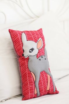 PINK BAMBI PILLOW-Kids Pillow,Nursery Decor,Bambi,animal pillow,Nursery bedding,Security object. BAMBI PILLOW - Softy Bambi pillow will quickly become your little one favorite cuddle buddy. Decorate your loved one nursery or children room with this beautiful Bambi pillow. With the use of digitally printed colorful Bambi on one side, soft cotton fabric on the other. Looking for sweet baby girl shower gift? This Bambi kid's pillow will be a perfect gift. *This product is handmade sewn…