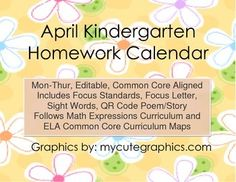 October MThur Ccss Kindergarten  Week Homework Calendar