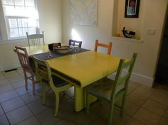 eclectic dining room table with different chairs - Google Search
