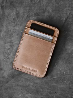 """Maddox"" Natural Vegetable Tanned Handmade Slim Leather Wallet"