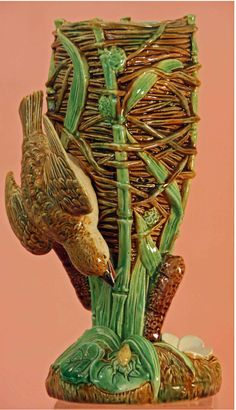 Victorian Majolica Bird on Nest Vase. George Jones. Majolica International Society Image from the Karmason Library