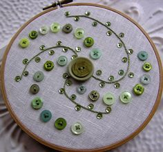 Embroidered Wall Art  Button and Sequin Spiral by bellacelestina, $12.50