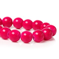 Fuchsia Round Crystal Glass Beads 10mm by 2MoonswithCharm on Etsy
