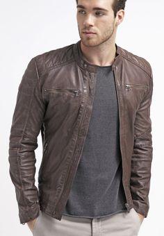 Goosecraft Leather jacket - chestnut - Zalando.co.uk
