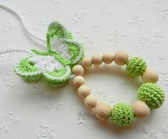 These cute crocheted breastfeeding necklace is the perfect gift for the new mom. Nursing necklace is the popular eco-toy for a baby.    During