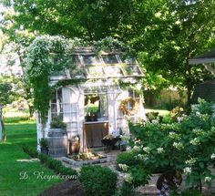 Donna Reyne: Tinker House is Blooming! I need sweet autumn clematis in my garden too ~ so beautiful! Dream Garden, Home And Garden, Garden Art, Magic Places, Sweet Autumn Clematis, Burlap Pumpkins, Potting Sheds, She Sheds, Garden Tools