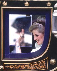 November 6, 1984: Princess Diana riding with Queen Elizabeth II to the State Opening of Parliament, Westminster.