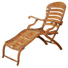 Vintage biomorphic French steamer lounge chaise, with an astonishing 'sculptural spine' made of beechwood. The design of this biomorphic chaise wi. Modern Dining Chairs, Dining Chair Set, Outdoor Chairs, Antique Furniture, Modern Furniture, Furniture Chairs, The Old Curiosity Shop, Antique Stores, Antiques