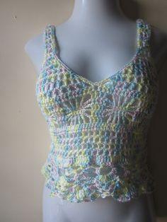 Cropped top crochet festival top Peplum  tank by Elegantcrochets, $65.00