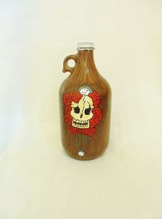 Death/Time/Roses HandPainted Growler by vivoleach on Etsy, $35.00