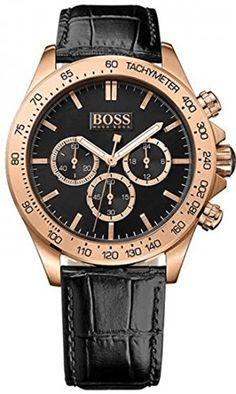 Hugo Boss 1513179 - Montre Homme - Quartz - Chronographe - Cadran en Acier inoxydable Doré - Bracelet Cuir Noir - Étanche 100 mètres