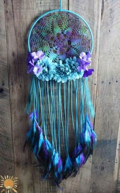 Large Teal, Turquoise, and Purple Dream Catcher with a Vintage Hand Dyed Doily, Flowers, and Peacock Feathers by mable - 188 отметок «Нравится Purple Dream Catcher, Doily Dream Catchers, Dream Catcher Decor, Large Dream Catcher, Rooster Feathers, Peacock Feathers, Diy And Crafts, Arts And Crafts, Doilies Crafts