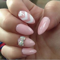 This is soooo me!  Baby pink nails with a bow embellishment and chevron!!