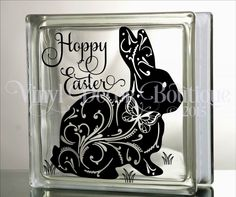 Hoppy Easter Glass Block Decal Tile Mirrors DIY Decal for Glass Blocks by VinylDecorBoutique on Etsy
