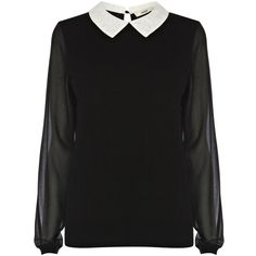 Oasis Lace collar jumper (25 AUD) ❤ liked on Polyvore featuring tops, shirts, sweaters, blouses, black, knitwear, shirt tops and oasis shirt