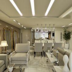 Apartamento com salas: de estar, jantar, tv e varanda decoradas com cores claras - lindo! - DecorSalteado