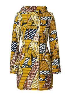 Vlisco yellow coat - love this pattern African Inspired Fashion, African Dresses For Women, African Print Dresses, African Print Fashion, Africa Fashion, African Attire, African Wear, African Fashion Dresses, African Women