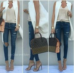 Zara tank and sleeveless coat, AG denim Gucci sandals & bag. Long Vest Outfit, Vest Outfits, Casual Outfits, Cute Outfits, Fashion Outfits, Womens Fashion, Western Outfits, Casual Chic, Ärmelloser Mantel