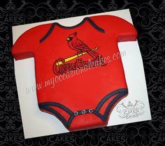 Cardinals onesie cake for baseball themed baby shower.