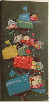 60s Norcross Mid Century Modern Mailboxes Vintage Christmas Card