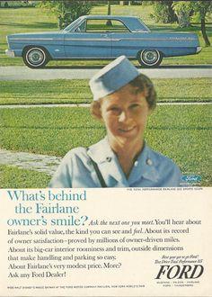 Ford Fairlane Automobile Original 1965 Vintage Print Ad Color Photo Sky Blue Car Airline Stewardess / Flight Attendant- Love that it references Walt Disney's World's Fair ride.