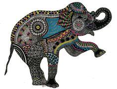 Doodled elephant by Barbara Simon Sartain, featured in Zen Doodle Workshop magazine! | ClothPaperScissors.com #doodleart #zendoodle #drawing