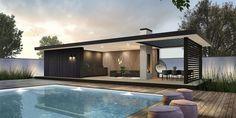 Modern Pool House, Modern Gazebo, Modern Pools, Pool House Designs, Backyard Pool Designs, Backyard Pools, Pool Decks, Pool Landscaping, Backyard Office