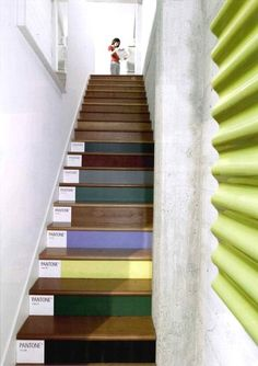 "Pantone Stairs at Tamotsu Yagi Design: ""We love these stairs at a San Francisco design firm's studio. If we had stairs, we can see replicating the look -- but perhaps (as one of the commenters said when they were posted on AT:LA a while back) without the Pantone labels."""