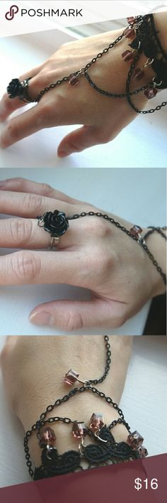 Black Lace Bracelet and Ring BB40 This gorgeous handmade bracelet and ring will add a unique treasure to your closet Handmade Jewelry Bracelets