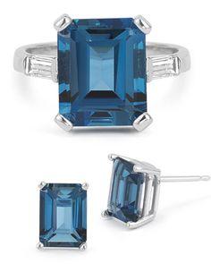 applesofgold.com - Emerald-Cut London Blue Topaz Ring and Earring Set, $875!