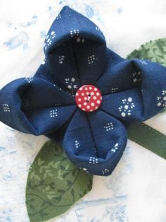 Origami folded Hungarian blue fabric flowers | Flickr - Photo Sharing!