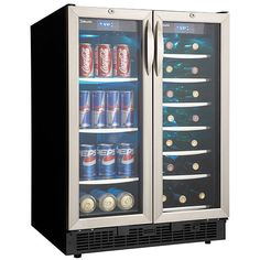 <li>Beverage center holds up to 60 beverage cans* and 27 bottles* of wine <li>Cooler contains a French door design with two independently controlled temperature zones for wine and beverages <li>Wine cooler measures 5 cubic feet