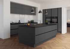 "a showstopper. What a showstopper.What a showstopper. What a showstopper. Design by ""For life"".Visualization by Ekaterina Domracheva. 45 Minimalist Kitchen Decor Ideas Decoration 60 Gorgeous Black Kitchen Ideas for Every Decorating Style Handleless Kitchen, Kitchen Cabinetry, Kitchen Flooring, Kitchen Backsplash, Cabinets, Black Kitchens, Luxury Kitchens, Cool Kitchens, Kitchen Black"