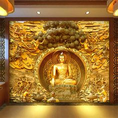 Quality beibehang Golden Buddha Buddhist Temple Mural Custom Large Living Room Screen Background Wall Wallpaper Stereo Wallpaper with free worldwide shipping on AliExpress Mobile Wall Painting Living Room, 3d Wallpaper Living Room, 3d Wallpaper For Walls, Cheap Wallpaper, Photo Wallpaper, 3d Wallpaper Buddha, Wallpaper Wallpapers, Pooja Room Door Design, Wall Design