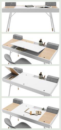 Desk with storage- Skrivebord med opbevaring Desk with storage - Modern Office Desk, Home Office Setup, Home Office Design, House Design, Office Desks, Smart Furniture, Modular Furniture, Furniture Design, Furniture Stores