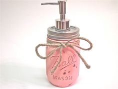 Pink Mason Jar Soap Dispenser Distressed Painted by CasstheCrafter, $12.99
